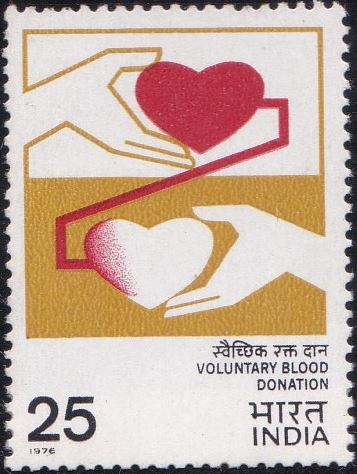 703 Voluntary Blood Donation [India Stamp 1976]