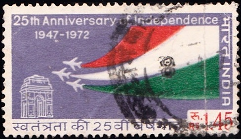 566 National Tri-coloured smoke from Gnat fighters & India Gate [Indipex 73]