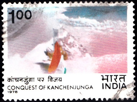 749 Indian Flag near Summit [Conquest of Kanchenjunga]