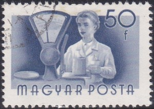 7 Clerk & Scales [Hungary Stamp 1955]