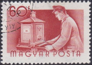 8 Postman emptying Mail Box [Hungary Stamp 1955]