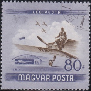 C152 Pilot leaving plane [Hungary Stamp]
