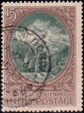 361 Forest and Himalayas [India Stamp 1961]