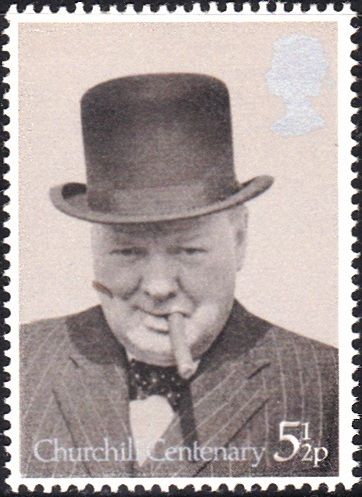 729 Churchill with Bowler and Cigar, 1940 [England Stamp 1974]