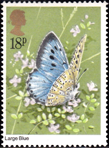 942 Large Blue Butterfly [England Stamp 1981]