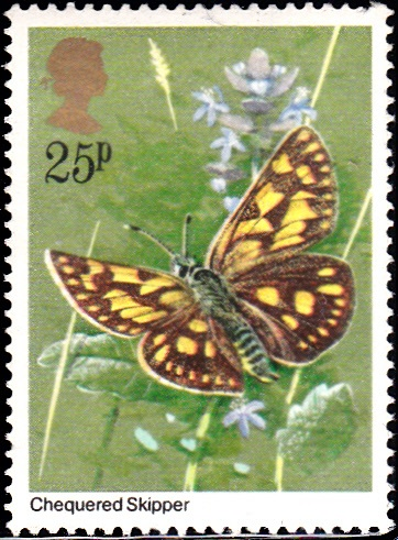 944 Checkered Skipper Butterfly [England Stamp 1981]