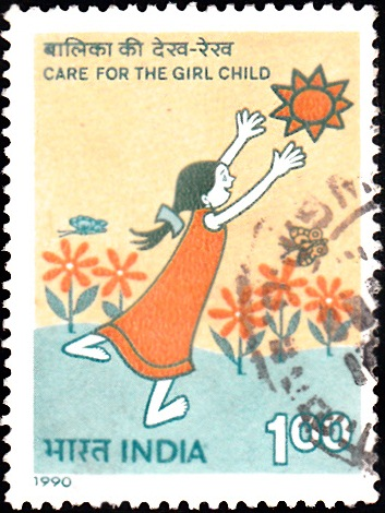 1242 Care for the Girl Child [India Stamp 1990]
