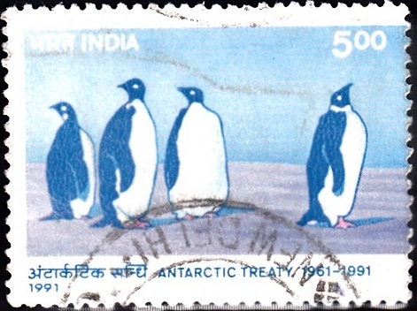 1282 Emperor Penguins [Antarctic Treaty] India Stamp 1991