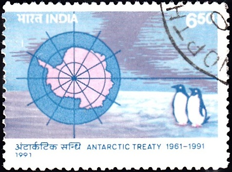 1283 Antartic Map & Adelie Penguins [Antarctic Treaty] India Stamp 1991