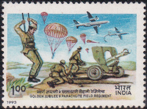 1367 Golden Jubilee of 9th Parachute Field Regiment [India Stamp 1993]