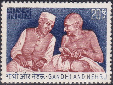 585 Gandhi and Nehru [India Stamp 1973]