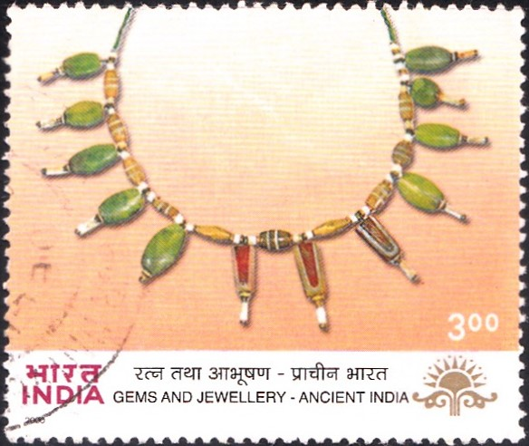 1797-bead-necklace-indus-valley-ancient-indian-gems-jewellery-india-stamp-2000