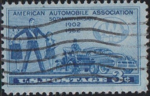 1007 School Girls and Safety Patrolman, Automobiles [United States Stamp 1952]