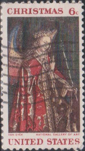 1363 Gabriel, from van Eyck's Annunciation - Christmas [United States Stamp 1968]
