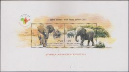 India Stamp Miniature Sheet 2011, elephant
