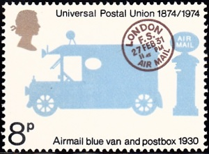 "722. Truck and Pillar Box for Airmail and ""London F.S. Air Mail"" Postmark"