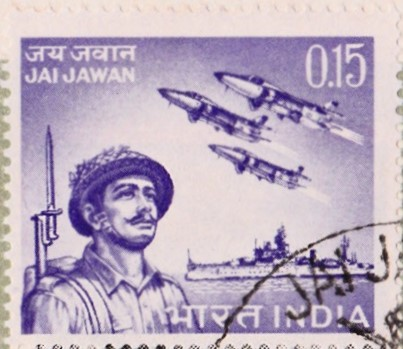 Indian Soldier, HAL Ajeet (Folland Gnat) and INS Mysore (C60)