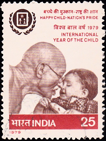 Mahatma Gandhi with a Child