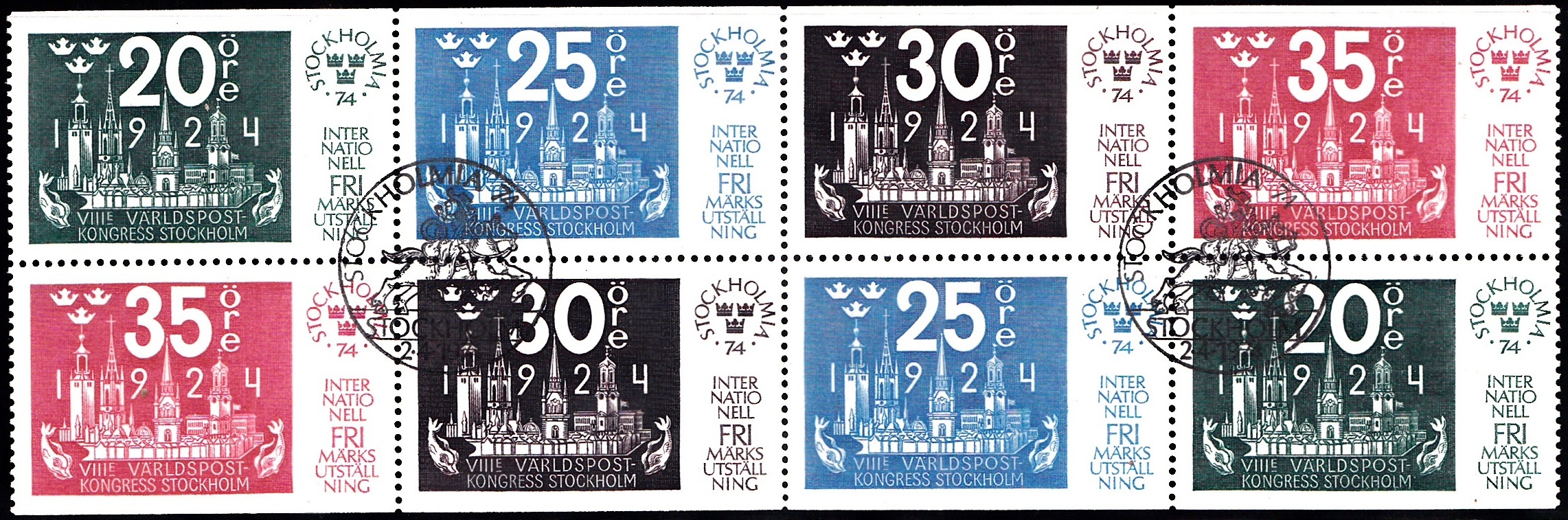 1041-1044 Stockholmia 74 [Philatelic Exhibition] Sweden Stamp Booklet Pane