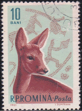1425 Roe Deer and Bronze Age Hunting Scene [Romania Stamp]