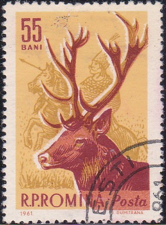 1429 Red deer and sixteenth century hunter [Romania Stamp]