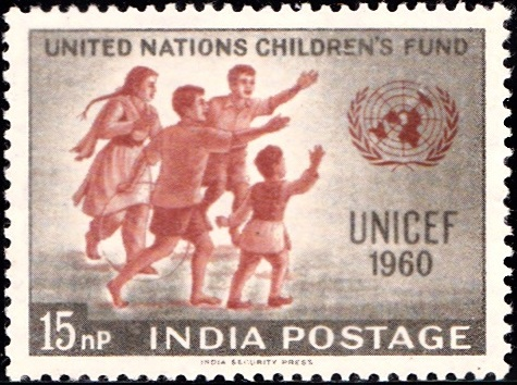 Children Greeting United Nations (UN) Emblem