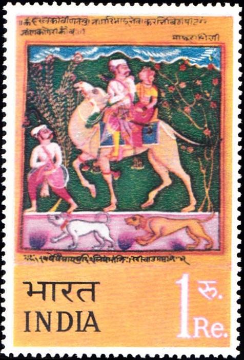 'Dhola & Maru' miniature painting by Nasiruddin