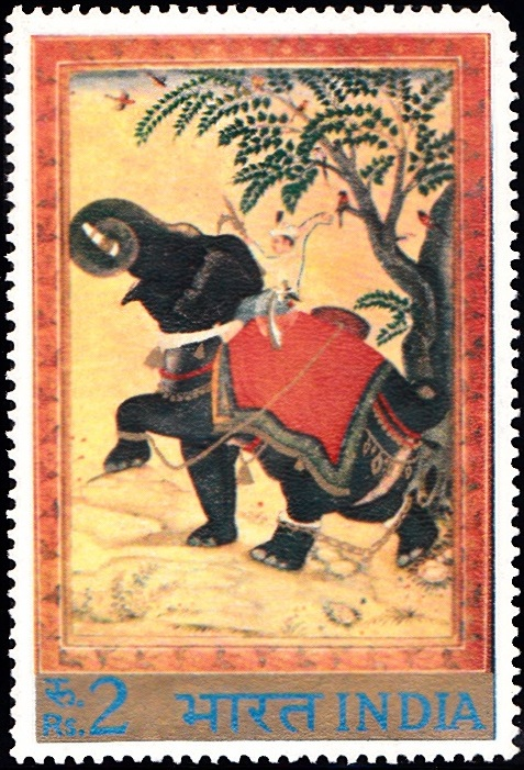 576 Chained Elephant, by Zain-al-Abidin, 16th century [Indian Miniature Painting]