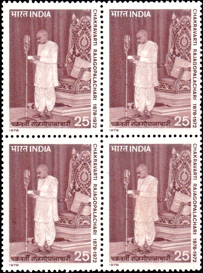 778 Chakravarti Rajagopalachari [India Block of 4 Stamps 1978]