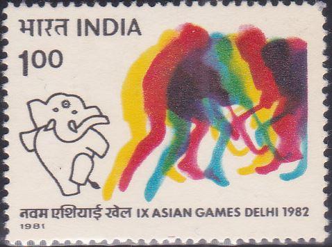 1982 Asiad : Stylized Hockey Player and Mascot 'Appu'