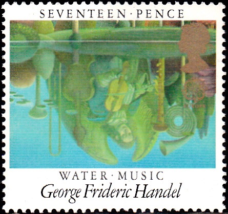 1103 Water Music, by George Frideric Handel, Reflections in Pool [England Stamp 1985]
