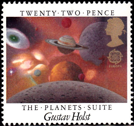 1104 The Planets Suite, by Gustav Holst, View of Planets [England Stamp 1985]