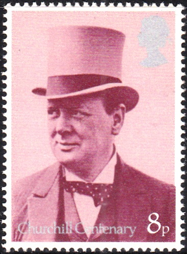 730 Churchill with Top Hat, as Secretary of War and Air, 1919 [England Stamp 1974]