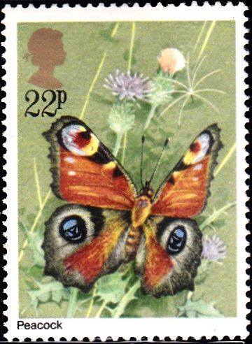 943 Peacock Butterfly [England Stamp 1981]
