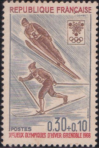 B411 Ski Jump [Winter Olympic Games, Grenoble] France Semi-postal Stamp 1968