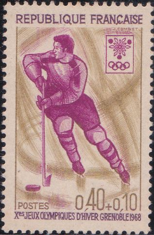 B412 Ice Hockey [Winter Olympic Games, Grenoble] France Semi-postal Stamp 1968