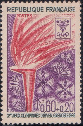 B413 Olympic Torch [Winter Olympic Games, Grenoble] France Semi-postal Stamp 1968