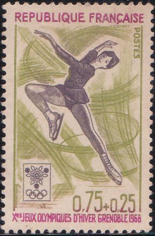 B414 Woman Figure Skater [Winter Olympic Games, Grenoble] France Semi-postal Stamp 1968