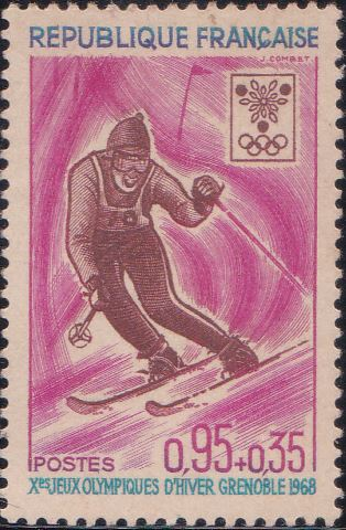 B415 Slalom Skiing [Winter Olympic Games, Grenoble] France Semi-postal Stamp 1968