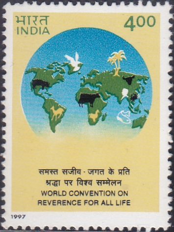 1585 World Convention on Reverence for All Life [India Stamp 1997]