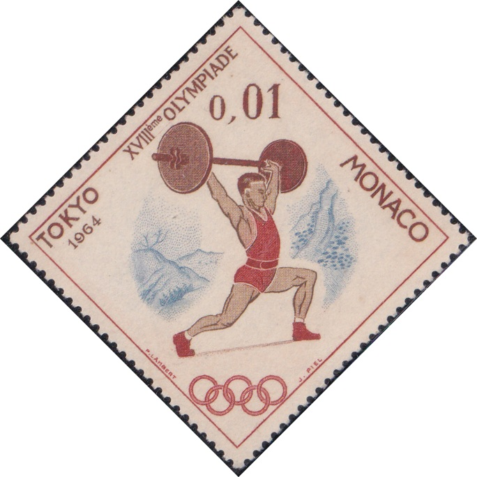 592 Weight Lifter (Olympic Games, Tokyo) [Monaco Diamond Stamp 1964]