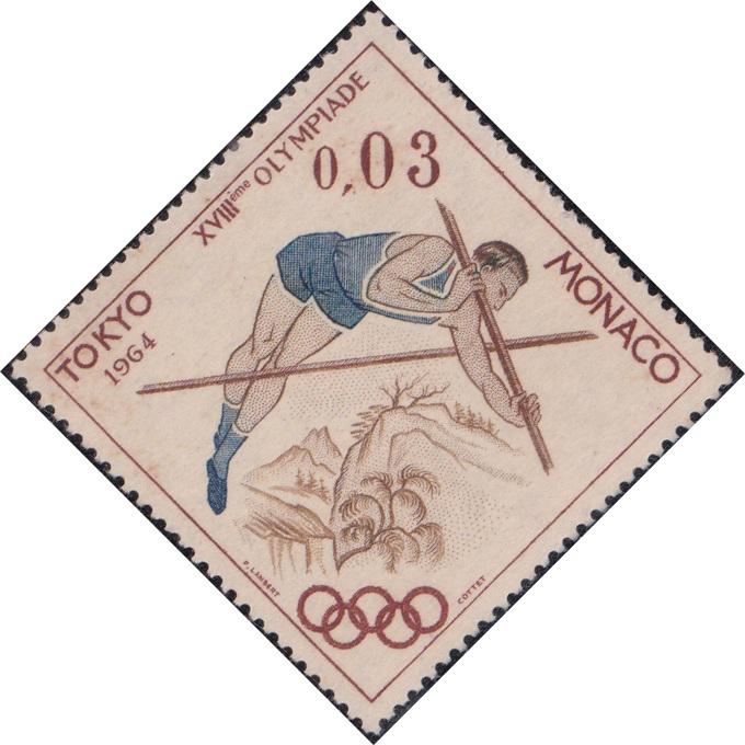 594 Pole vault (Olympic Games, Tokyo) [Monaco Diamond Stamp 1964]
