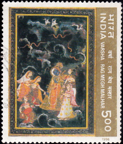 1484 Rainy Season -Ritu-Rang - Miniature Painting [India Stamp 1996]
