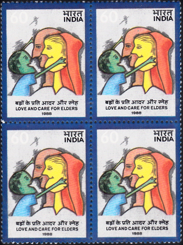 1149 Love & Care for Elders [India Stamp 1988 Block of 4]