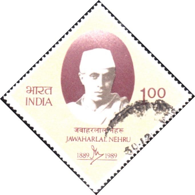 Jawahar Lal Nehru in Khadi, diamond stamp