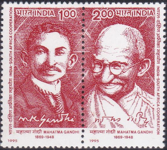 Mahatma Gandhi in South Africa (young barrister) and India (old age)