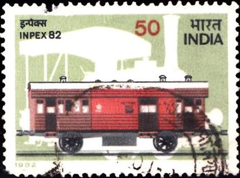 RMS Van in Vintage Composite Rail Coach & Silhouette of Steam Locomotive