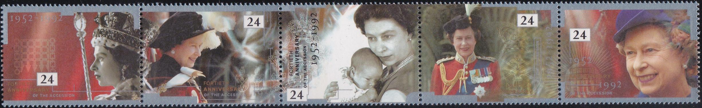 1436-40 Queen Elizabeth II [England Setenant Stamp 1992]