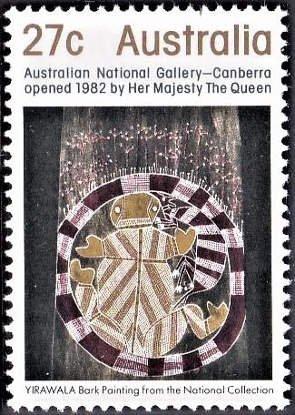 Bark Painting of Yirawala, an Australian Aboriginal Artist