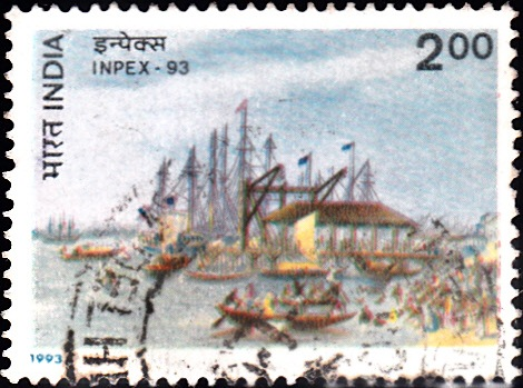 1395-custom-house-wharf-calcutta-india-stamp-1993